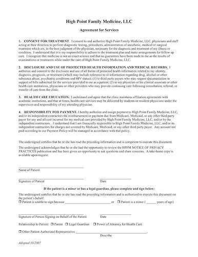 Agreement for Service